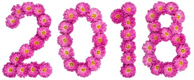 Numeral 2018 from flower of chrysanthemum, isolated on white bac Royalty Free Stock Images