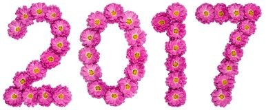 Numeral 2017 from flower of chrysanthemum, isolated on white bac Royalty Free Stock Photo