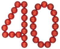 Numeral 40, forty, from decorative balls, isolated on white back. Ground Royalty Free Stock Photo