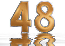 Numeral 48, forty eight, reflected on the water surface, isolate. Numeral 48, forty eight, reflected on the water surface,  on  white, 3d render Royalty Free Stock Image
