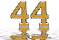 Numeral 44, forty four, reflected on the water surface, isolated. On white, 3d render Stock Photography