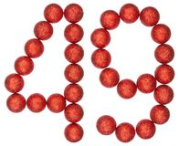 Numeral 49, forty nine, from decorative balls, isolated on white. Background Stock Images