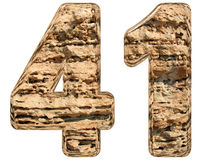 Numeral 41, forty one, isolated on white, natural limestone, 3d Royalty Free Stock Image