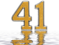 Numeral 41, forty one, reflected on the water surface, isolated Stock Photo