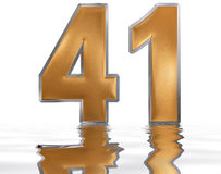 Numeral 41, forty one, reflected on the water surface,  Royalty Free Stock Photo