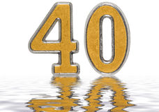 Numeral 40, forty, reflected on the water surface, isolated Stock Photos