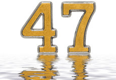 Numeral 47, forty seven, reflected on the water surface, isolate. D on white, 3d render vector illustration