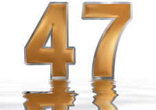 Numeral 47, forty seven, reflected on the water surface, isolate. Numeral 47, forty seven, reflected on the water surface,  on  white, 3d render Royalty Free Stock Photos