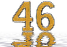 Numeral 46, forty six, reflected on the water surface, isolated. On white, 3d render Royalty Free Stock Photo