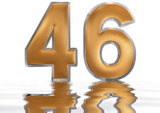 Numeral 46, forty six, reflected on the water surface,. On  white, 3d render Royalty Free Stock Image