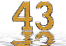 Numeral 43, forty three, reflected on the water surface, isolate. D on white, 3d render Stock Photo