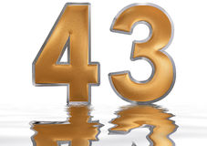 Numeral 43, forty three, reflected on the water surface, isolate. Numeral 43, forty three, reflected on the water surface,  on  white, 3d render Stock Images