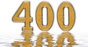 Numeral 400, four hundred, reflected on the water surface, isola Royalty Free Stock Photography