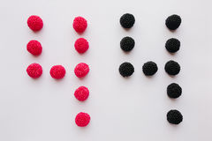 The numeral four is written in black and red on a white backgrou Royalty Free Stock Photo