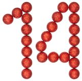 Numeral 14, fourteen, from decorative balls, isolated on white b Royalty Free Stock Photography