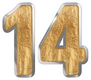 Numeral 14, fourteen, isolated on white background, 3d render.  stock illustration