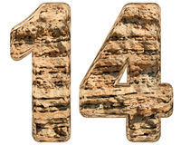 Numeral 14, fourteen, isolated on white, natural limestone, 3d i. Llustration royalty free illustration