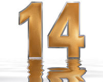 Numeral 14, fourteen, reflected on the water surface, o stock illustration