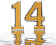 Numeral 14, fourteen, reflected on the water surface,  o. N white, 3d render Royalty Free Stock Photography