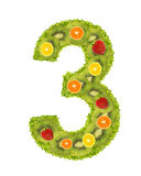 Numeral from fruit - 3. Numeral from fruit isolated on a white background - 3 Stock Photos