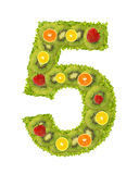 Numeral from fruit - 5. Numeral from fruit isolated on a white background - 5 Royalty Free Stock Images