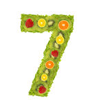 Numeral from fruit - 7. Numeral from fruit isolated on a white background - 7 Royalty Free Stock Photos