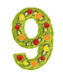 Numeral from fruit - 9. Numeral from fruit isolated on a white background - 9 Stock Photo