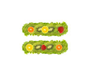Numeral from fruit - equal Stock Photography
