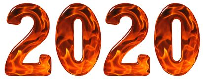 Numeral 2020 from glass with an abstract pattern of a flaming fi. Re, isolated on white background, 3d render Stock Image