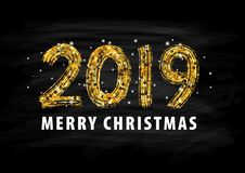 2019 numeral hand lettering. Happy New Year. Merry Christmas. Graduation. Vector Illustration. 2019 numeral text hand lettering. Happy New Year. Merry Christmas royalty free illustration