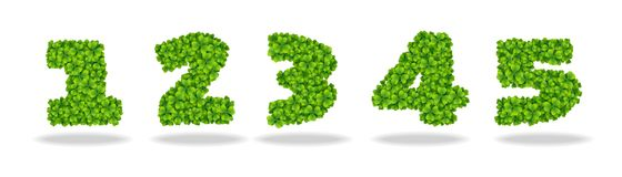Numeral from the leaves of the clover. Numeral 1-5. For the design of St. Patricks Day. Advertising, posters, printing Stock Photos