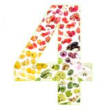Numeral made from fruits and vegetables, isolated. On white Stock Photo