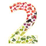 Numeral made from fruits and vegetables, isolated. On white Royalty Free Stock Photography