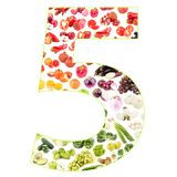 Numeral made from fruits and vegetables, isolated. On white Royalty Free Stock Photos