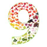 Numeral made from fruits and vegetables, isolated. On white Stock Images