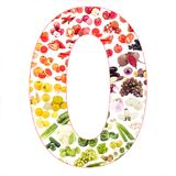 Numeral made from fruits and vegetables, isolated. On white Royalty Free Stock Photo