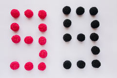 The numeral nine is written in black and red on a white backgrou Royalty Free Stock Photos
