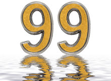 Numeral 99, ninety nine, reflected on the water surface, isolate. Numeral 99, ninety nine, reflected on the water surface,  on white, 3d render Royalty Free Stock Images