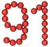Numeral 91, ninety one, from decorative balls, isolated on white. Background Stock Images