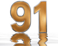 Numeral 91, ninety one, reflected on the water surface,. On white, 3d render vector illustration