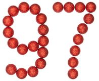 Numeral 97, ninety seven, from decorative balls, isolated on whi. Te background Stock Photography