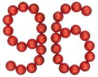 Numeral 96, ninety six, from decorative balls, isolated on white. Background Stock Image
