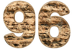 Numeral 96, ninety six,  on white, natural limestone, 3d. Illustration Royalty Free Stock Photos