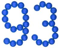Numeral 93, ninety three,  from decorative balls, isolated on wh Royalty Free Stock Photo