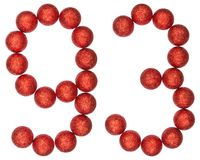 Numeral 93, ninety three,  from decorative balls, isolated on wh. Ite background Royalty Free Stock Photos