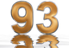 Numeral 93, ninety three, reflected on the water surface, isolat. Numeral 93, ninety three, reflected on the water surface,  on  white, 3d render Stock Photo