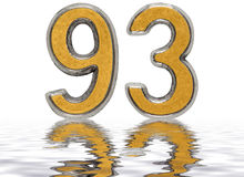 Numeral 93, ninety three, reflected on the water surface. Isolated on white, 3d render vector illustration