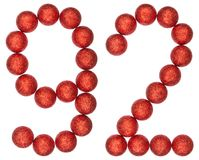 Numeral 92, ninety two, from decorative balls, isolated on white. Background Royalty Free Stock Photos