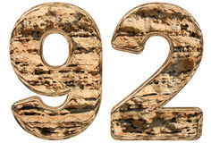Numeral 92, ninety two,  on white, natural limestone, 3d. Illustration Royalty Free Stock Image