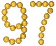Numeral 97, noventa e sete, das bolas decorativas, isoladas no whi Fotos de Stock Royalty Free